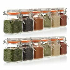 24 Pack - 3.4 Ounce Mini Square Glass Spice Jar with Orange Flip-Top Gasket,...