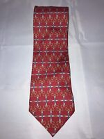 Paolo Gucci Red Horsebit Equestrian Geometric 100% Italian Silk Classic Neck Tie