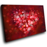 ZAB1509 Red Pink Heart Cool Modern Canvas Abstract Home Wall Art Picture Prints
