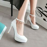 Women Sexy Ankle Strap High Heels Round Toe Platform Pumps Shoes UK Size 1-8