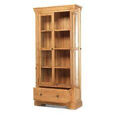 Le Havre solid oak furniture glazed display cabinet cupboard