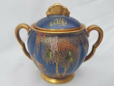 COLOURFUL CARLTON WARE  BLUE AND GOLD SUGAR BOWL WITH SKETCHING BIRD DESIGN