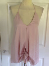 BNWT RIVER ISLAND £28 beautiful pale pink draping tie front halterneck top UK 10