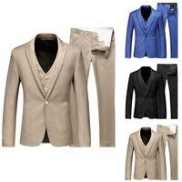 Men's 3 Piece Suit Button Blazer Slim Fit Business Formal Wedding Suit Coat WDS