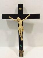 Altes schwarzes Kruzifix,Holz Wandkreuz mit Jesus Skulptur  INRI