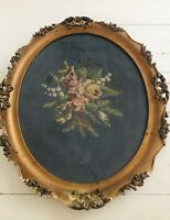 """LRG Antique Framed Needlepoint Floral -Ornate Oval Wood/Gesso Frame 24"""" Long"""
