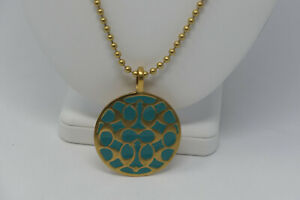 """Coach Gold Plated Turquiose Signature C Medallion 32"""" Long Chain Necklace NWT"""