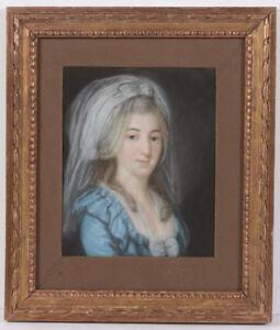 """""""Portrait of Dorothea Sophie Dähne, nee Biener"""", Leipzig School, pastel, ca.1795"""
