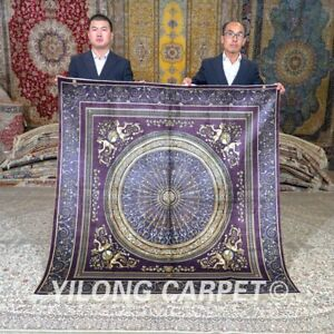 Yilong 6'x6' 500Lines Silk Area Rug Square Handcraft Carpets Hand Knotted 700H