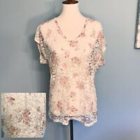 Maurice's Ivory & Pink Floral Lace Top Size Large