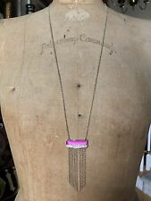 """ALEXIS BITTAR Gold Tone Pink Lucite LONG Fringe Necklace - 32"""""""
