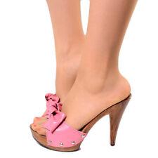 Damen Clogs High Heels Absatz Faux Holz Sandaletten Damenschuhe High Pumps Bz025