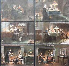 More details for raphael tuck set of 6 firelight effects series 9016 artist j.a. heyermans c1903