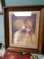"""Home Interior Big Eyes Boy and Girl """"First Kiss"""" Picture by Margaret Kane Homco"""