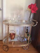 Mid-Century French Gilt Brass Art Deco Polished Brass Oval Bar Cart Tea Trolley