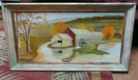 Folk Art Primitive Oil Painting Artist Signed Vintage Rustic Frame Landscape
