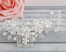 Diamante Hair Comb Pearls Wedding Headdress Crystal Bridal Accessories 1 Piece