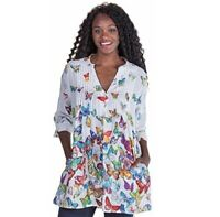 La Cera Women's Rainbow Butterflies 3/4 Sleeve Cotton Pleated Tunic Blouse