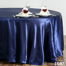 "1 pc NAVY Blue 108"" ROUND Satin TABLECLOTH Wedding Party Kitchen Tabletop Linens"