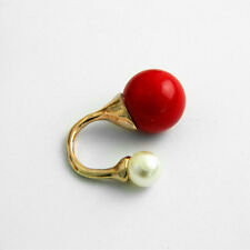ANTHROPOLOGIE DOUBLE BIG PEARL 18 MM AND 12MM WHITE RED RING – NEW SIZE 6 1/4