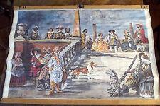 Affiche Scolaire Vintage 90 x 62 cm Noblesse au XVII ème  S   Signé Berreta 1972