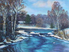 Winter Scene Icy Blue River Joan Pripps. 50s lithograph print