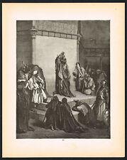 1800s Original Antique Christian Engraving King David Art Print
