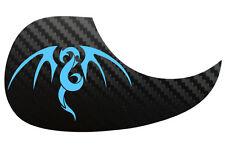 Tribal Dragon Acoustic Guitar Black Carbon Pickguard Scratchplate, Arctic Blue