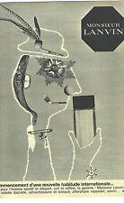 PUBLICITE ADVERTISING  1960  LANVIN le parfum de Monsieur