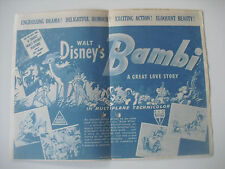 Original Movie Film Program Bambi Walt Disney RKO. Programa de cine años 40