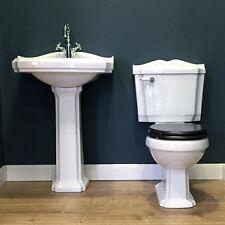Nostalgie Keramik Waschtisch und WC-Becken mit Spülkasten und WC-Sitz