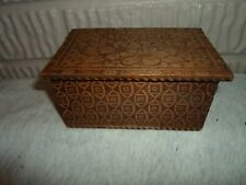 antique Flemish Art wood jewel  or wooden box, dresser or keepsake  box