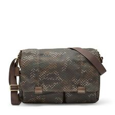 Fossil Mens Field Camouflage Messenger Crossbody City Laptop Work Bag Camo #5346