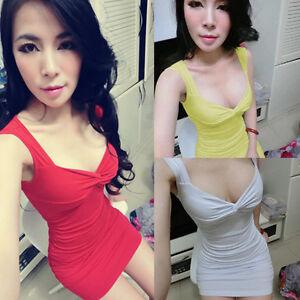Sexy Hot Women Stretch Cotton LOW CUT Bodycon MINI Dress Clubwear Sundress