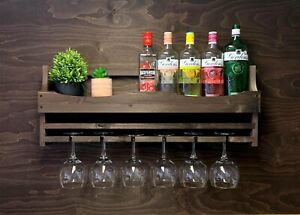 Large Wooden Gin Bar Rack Shelf Wine Home Bar 6 Gin Balloon Glass Holder (6GDO)