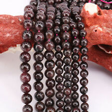 "16"" Strand Charm Natural Garnet Round Spacer Loose Beads Crafts Making 4-10MM"