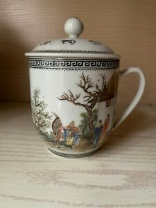 Antique Chinese Famille Rose Porcelain Ceramic Tea Cup With Lid