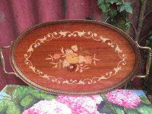 Vintage Sorrento Italian Oval Wooden Inlaid Tray with Brass Handles & Gallery.