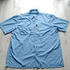 Natural Gear Men's Large Button Up Shirt Blue Short Sleeves Pockets Vented Back