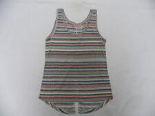 Roxy Women Hyper Paradise Printed Striped Sleeveless Tank Top Blouse Sz Medium