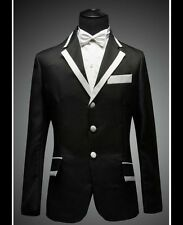 NEW Men's Black with White Collar Black Wedding Dress Tuxedo (Include Pants)