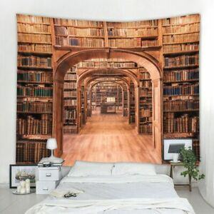 Library Bookshelf 3D Polyester Printed Tapestry Background Decoration Cloth