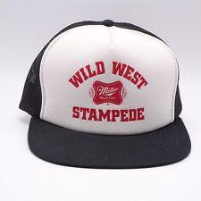 Vtg Miller High Life Trucker hat Wild West Stampede Snapback cap Made in Taiwan