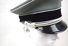 WWII German Elite Whipcord Officer Hat Cap W White Chin Pipe Silver Cord