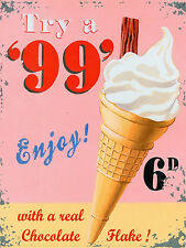Try A 99 Ice Cream, Retro Metal Nostalgic Plaque/Sign Cafe Restaurant Kitchen