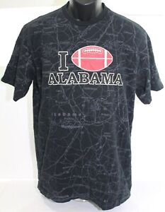 Vintage I Love Alabama Football State of Mine Map T Shirt Medium Crimson Tide