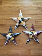 Set Of 3 Farm Rooster Barn Stars Wall Decor Checkered French Country Decor