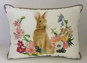 """Pottery Barn Floral Bunny Lumbar Pillow Easter 12x16"""" New with Tags"""