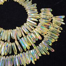 50g Titanium rainbow aura lemurian leed quartz crystal point healing8pcs+ HH205
