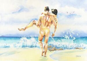 "PRINT of Original Art Work Watercolor Painting Gay Male Nude ""On the waves"""